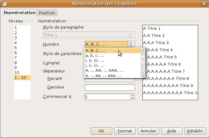 Numérotation des titres avec OpenOffice.org Writer